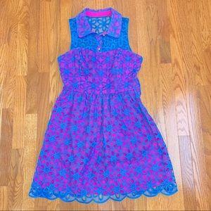 Lilly Pulitzer Blue & Pink Pemberton Lace Dress